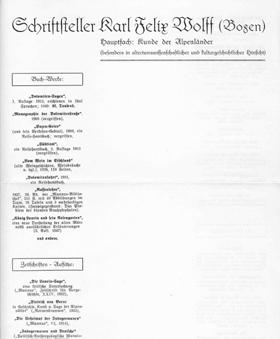 Briefpapier mit Verzeichnis der Schriftwerke Karl Felix Wolffs