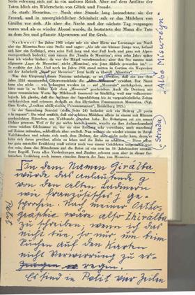 Korrekturen von Karl Felix Wolff für die 12. Auflage der Dolomitensagen