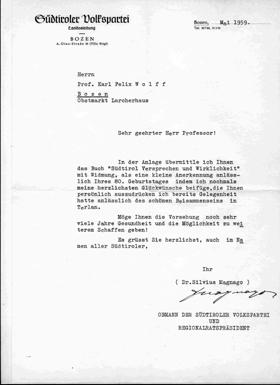 Brief von Silvius Magnago an Karl Felix Wolff, Mai 1959