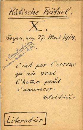 Notizbuch, 1914