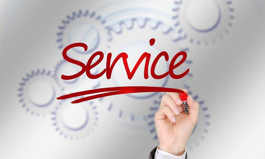 Schriftzug Service mit Zahnrädern (Bild: https://pixabay.com/de/markierung-marker-hand-schreiben-804938/)
