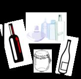 Piktogramme als Einwurfhilfen auf den Trennmodulen: Altglas