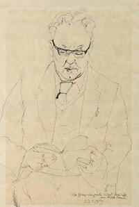 Markus Vallazza: Dr. Ignaz Zangerle liest Gedichte von Hilde Domin / 23.1.1979. Tuschezeichnung (Sign. 47-11-17)