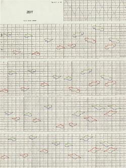 Erste Seite der Partitur von Zeit. Forschungsinstitut Brenner-Archiv, Nachl. Haimo Wisser, Sig. 64-03-135
