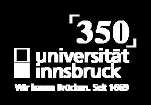 350 Jahre Logo Universität Innsbruck als Negativ