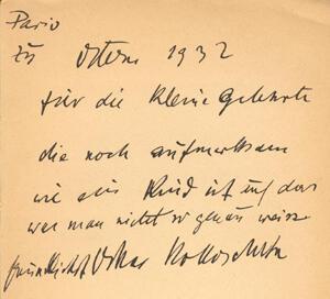 Oskar Kokoschka an Lilly Sauter