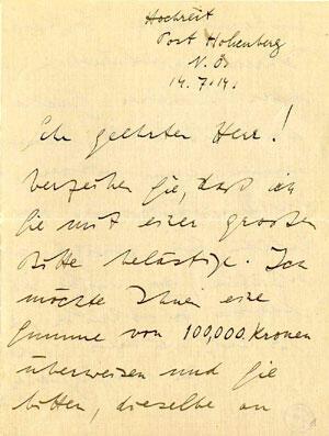 wittgenstein an ficker, 14.7.1914