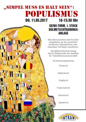 """11.05.2017 Einladung zur Dolmetschkonferenz """"Simpel muss es halt sein"""": Populismus."""