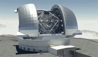 European Extremely Large Telescope (kurz ELT). Optisches Teleskop mit einem Hauptspiegel von 39 Metern Durchmesser, das im Jahre 2022 einsatzbereit sein. (Foto: ESO)