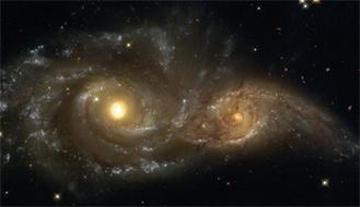 Wechselwirkende Galaxien. Sie werden in ein paar MiIlliarden Jahren zu einer Galaxie zusammengewachsen sein. (Foto: NOAO/AURA/NSF)