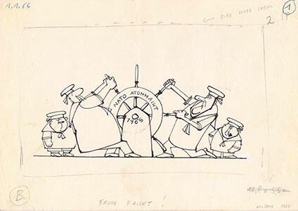 """Die Karikaturen """"Frohe Fahrt!"""" (DIE ZEIT, 1.1.1965) und """"Bonner Tief"""" (DIE ZEIT, 6.6.1969), beide © Klocker Stiftung"""