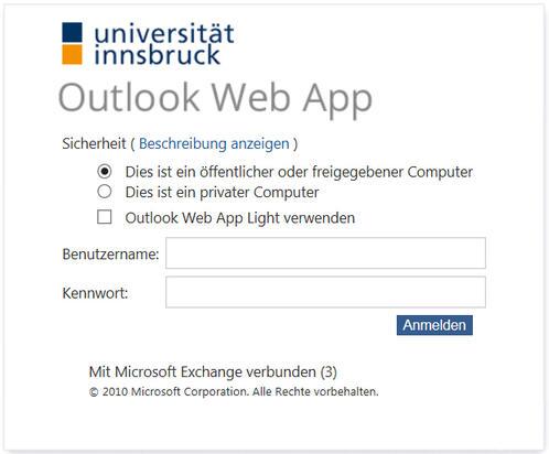 Anmeldefenster Outlook Web App