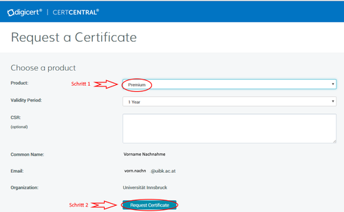 DigiCert SSO Certificate Form