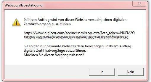 DigiCert SSO Certificate Bestaetigung