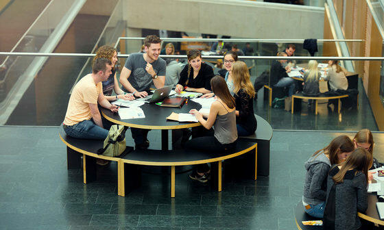 Students around table