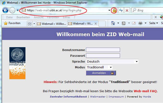 Echte Web-mail-Seite
