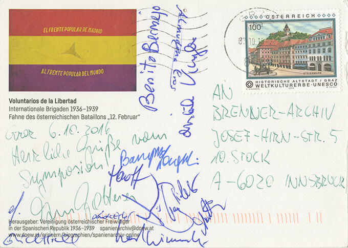 """Ansichtskarte von der Tagung """"Camaradas. Österreicherinnen und Österreicher im Spanischen Bürgerkrieg 1936–1939"""" vom 5.-7. Oktober 2016 in Graz"""