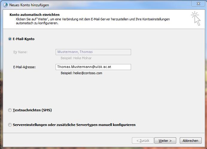 Automatische Konfiguration von Outlook