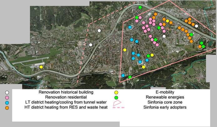 Stadtteile mit Sanierungsprojekten im Rahmen von Sinfonia