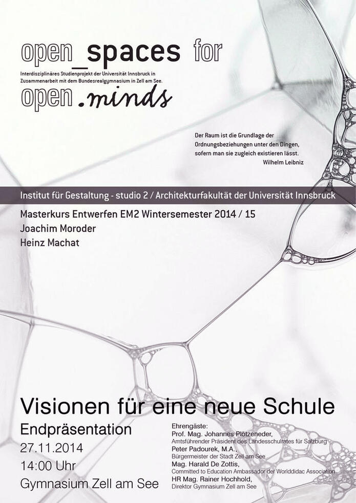 Open spaces for open minds - Gymnasium Zell am See   studio2 M2 Präsentation 27.11.2014