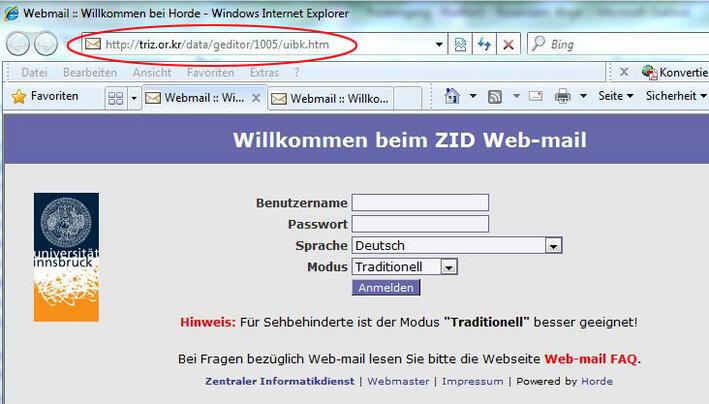 Gefälschte Web-mail-Seite