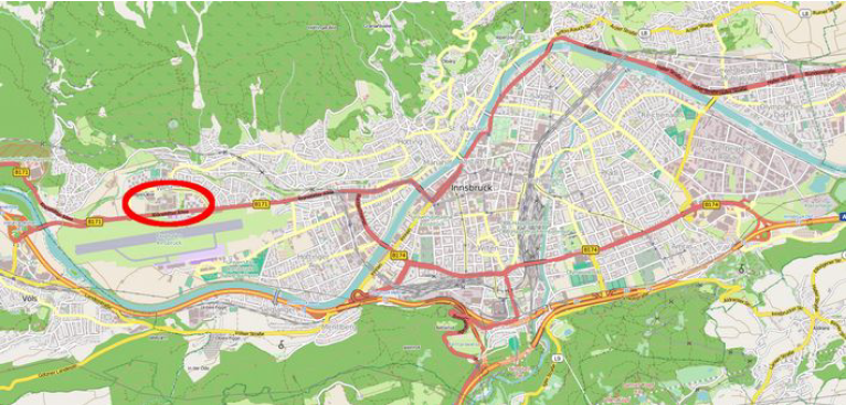 Figure 1: The Technology campus of Innsbruck (marked in red) © OpenStreetMap contributors