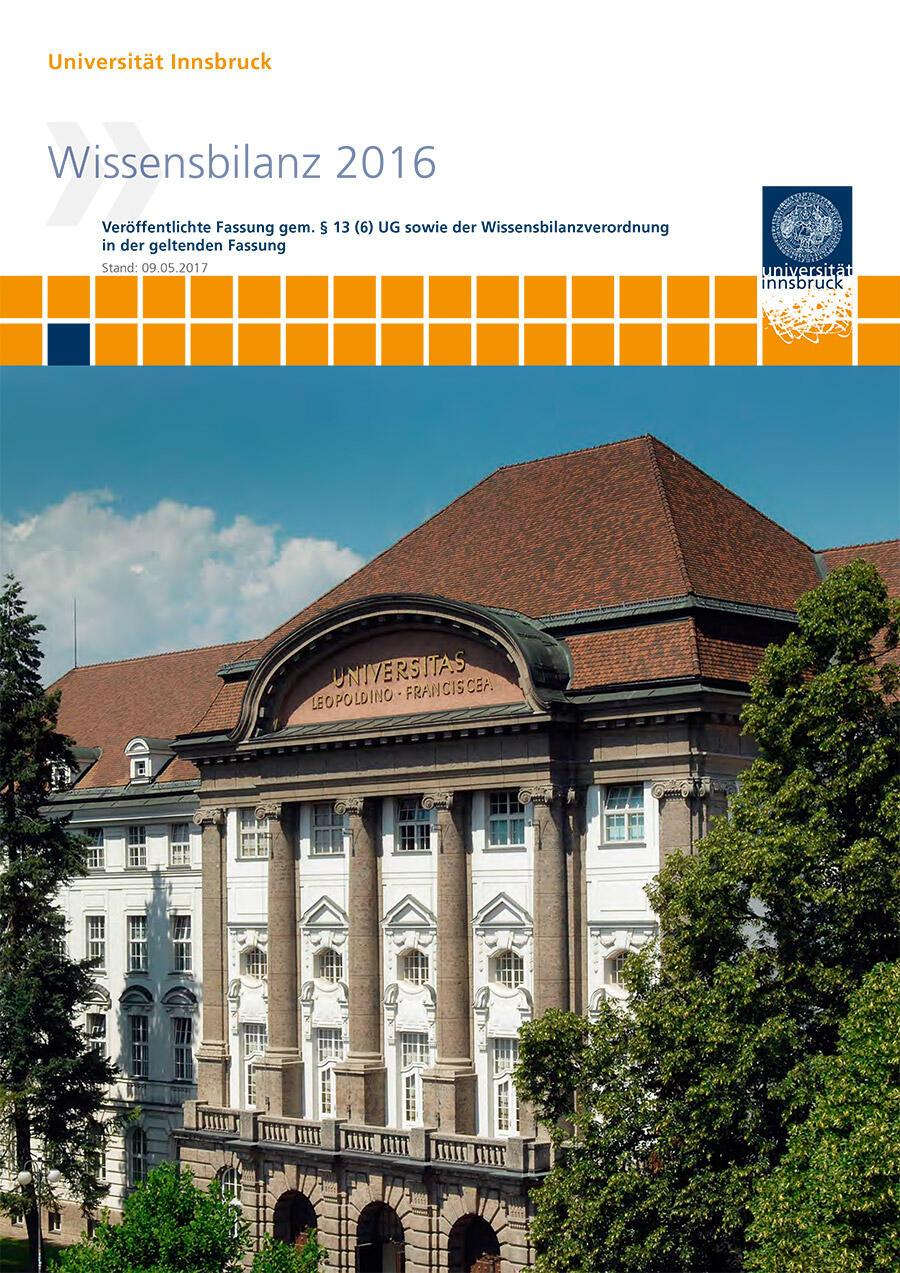 Deckblatt der Wissensbilanz 2016