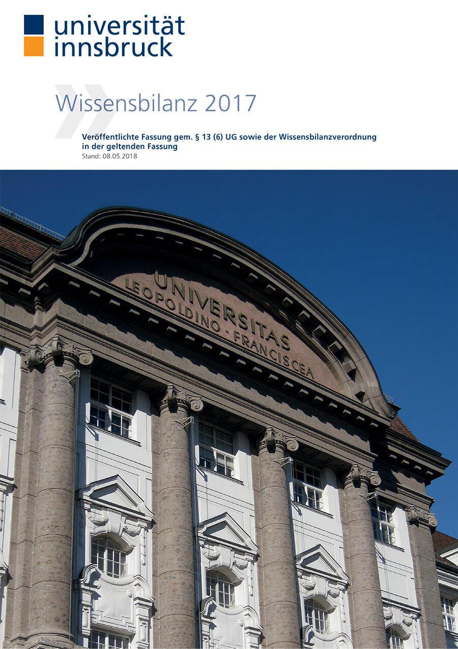 Deckblatt der Wissensbilanz 2017