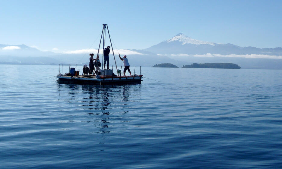 Researchers taking sediment cores on Chilean lake Calafquén