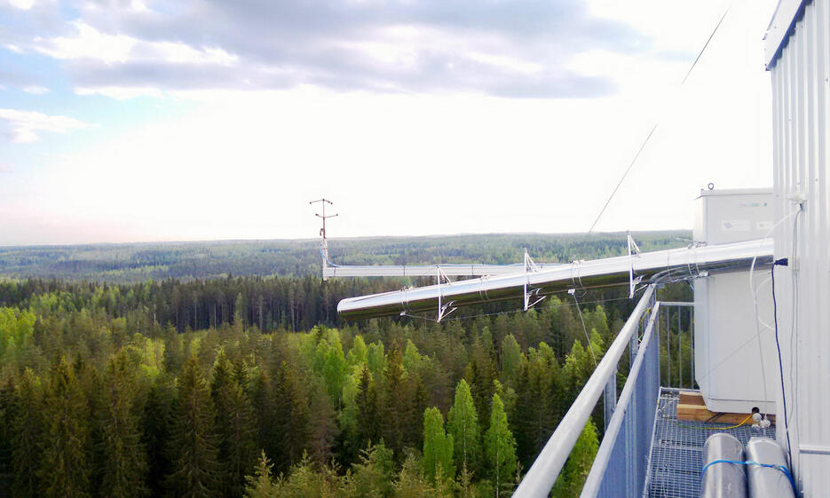 Measuring tower in a forest in Finland