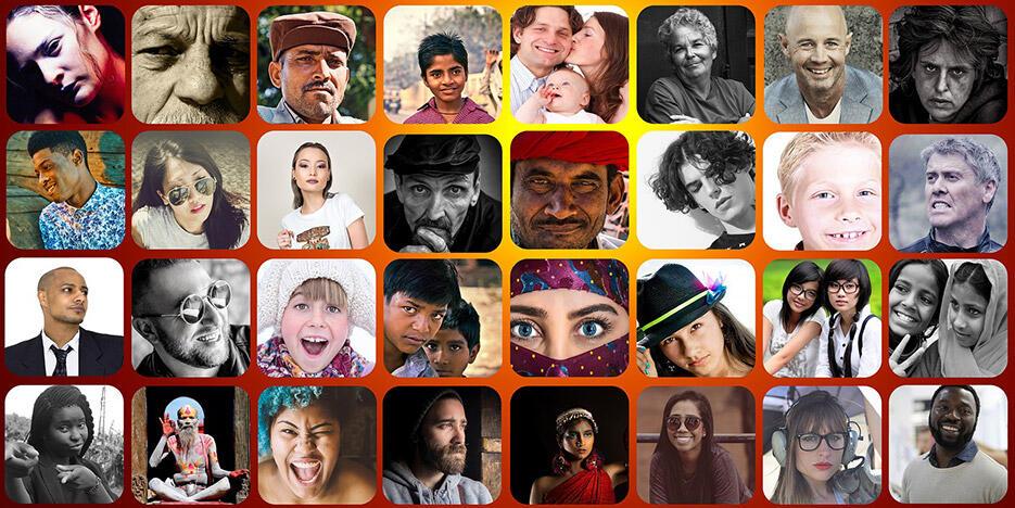 45. verschiedene Gesichter
