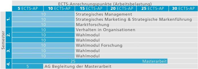 Empfohlener Studienverlauf für das Masterstudium Strategic Management