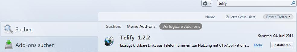 Firefox Addons telify Suche