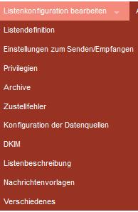 Das Listen-Konfigurationsmenü