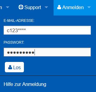 Eingabe von Benutzerkennung und Passwort